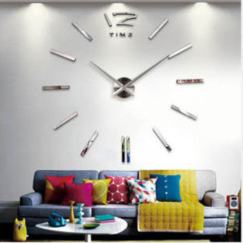 King Size Acrylic 3D Creative Wall Sticker Stylish Mirror Clock [4918619396]