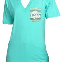 Monogrammed Pattern Pocket T-Shirt
