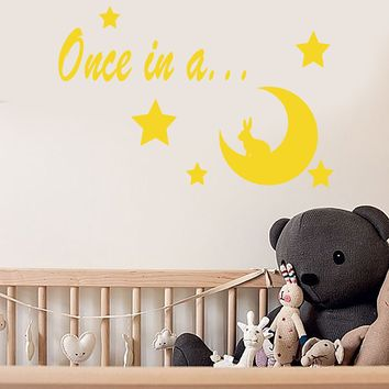 Vinyl Wall Decal Words Stars Rabbit Once In A Moon Fairy Tale Stickers (2200ig)