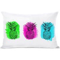 """""""Rainbow Pineapples"""" Outdoor Throw Pillow by OneBellaCasa, 14""""x20"""""""