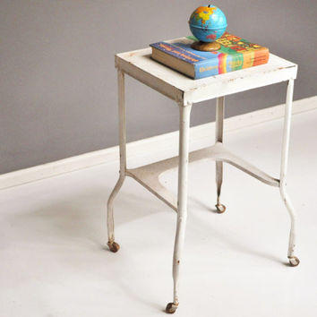 Vintage Luxco Medical Side Table on Wheels