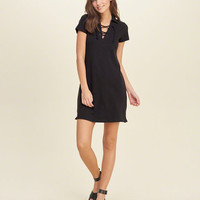 Lace-Up Polo Dress