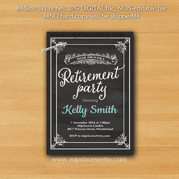 Retirement Invitations, Retirement party Invitation, Retirement Celebration retro vintage Invite, chalkboard blackboard design - card 316