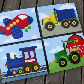 Set of 4 Transportation Boys Stretched Canvases Kids CANVAS Bedroom Wall Art 4CS011