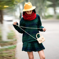 Green Mohair Sweater And Pleated Mini Skirt