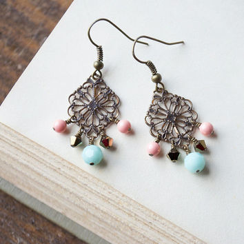 pink and mint earrings: pink and blue, pink Swarovski earrings, coral and mint earrings, antique brass filigree, peach, aqua mint earrings
