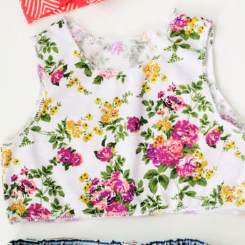 Floral crop top baby toddler crop top short top summer baby spring summer outfits wholesale baby
