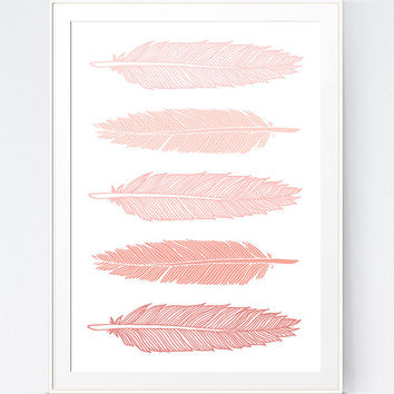 Coral Decor, Pink Feathers, Coral Feathers, Girls Wall Art, Baby Girl Print, Girl Nursery Wall Art, Coral Decor, Pink Art, INSTANT DOWNLOAD