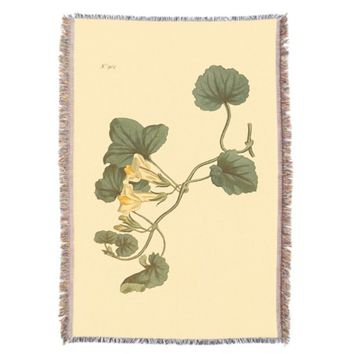 Heart-Leaved Snapdragon Botanical Illustration Throw Blanket