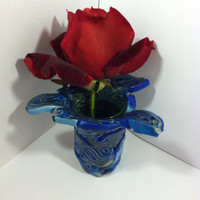 Cobalt blue modern clay sculpture vase pot planter small for a small succulent or bud vase. Free Shipping!