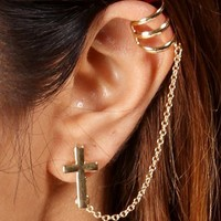 Gold Cross Ear Cuff Set