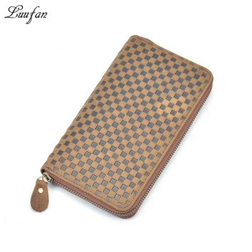 Men's Zip Around crazy horse leather long wallet with inner zipper coin pocket Plaid 4 interlayer long purse phone pocket clutch