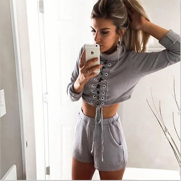2016 fashion bandage Long sleeve movement Leisure Set