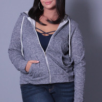 Plus Size French Terry Hoodie - Navy