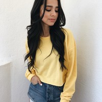 MANNY CROP SWEATER- YELLOW