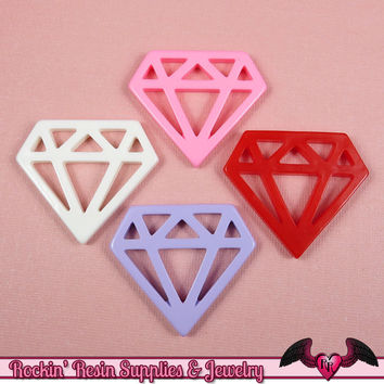 5pc DIAMONDS Flatback Resin Decoden Cabochons / Cellphone Deco 33x38mm