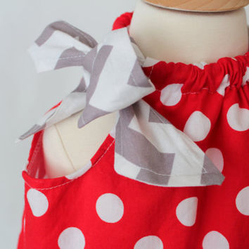 Girls Pillowcase Dress Red Polka Dot Grey Chevron - Available in Sizes 6 Months, 9 Months, 12 Months, 18 Months
