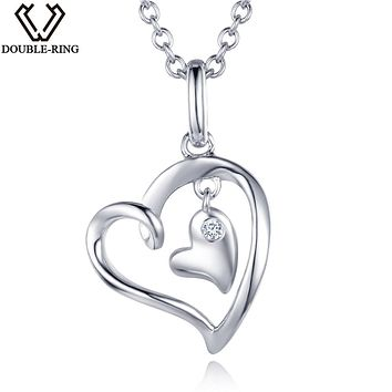 DOUBLE-R 0.02ct Real Diamond Pendants Women 925 Sterling Silver Necklaces Heart Diamond Jewelry Valentine's Gift With Chain