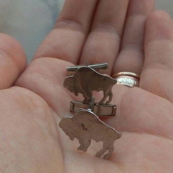 Buffalo Cuff Links, Vintage Cuff links, Alloy Buffalo Cuff Links, Buffalo Cuflinks, Vintage Men's Jewelyy, Men's Accessories, Gifts for him