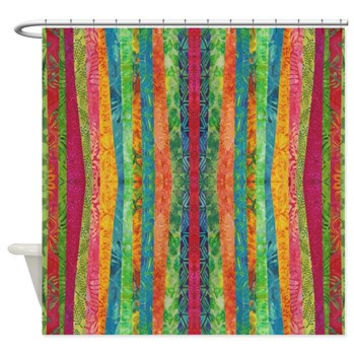 Striped Shower Curtain - Bali Bali in Springtime - Jewel tone stripe ,boho, blue, green, red, gold, art, bathroom decor, bath, home