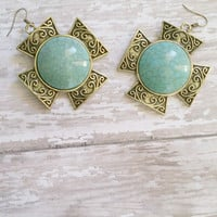 Turquoise Cross Earrings / Cowgirl Chic Jewelry / Faux Stone Earrings / Stone Earrings / Large Earrings / Statement Earrings