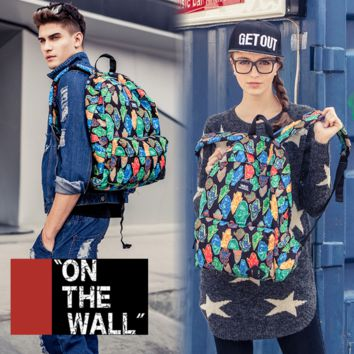 """Vans""Fashion Personality printing large capacity backpack bag leisure travel boom Ghost printing(7 style)"