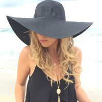 Black Straw Floppy Hat