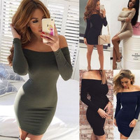 2016 Long Long Sleeve Off Shoulder Package Hip Boat Neckline Casual Party Playsuit Clubwear Bodycon Boho Dress _ 9128