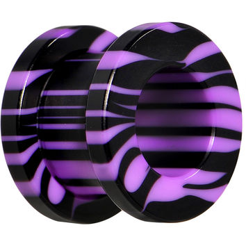 00 Gauge Purple and Black Zebra Striped Acrylic Threaded Tunnel
