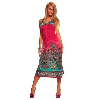 Fashion Women's Sexy Fashion Long Summer Casual Printed Maxi Beach Dress With Strap Neon Dress For Ladies 4153