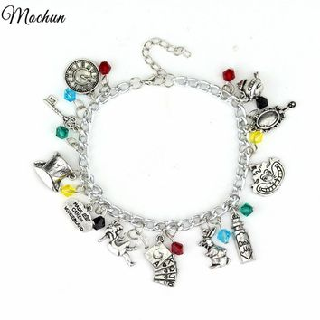 MQCHUN Alice In Wonderland Charm Bracelet Drink Me Alice Hat Brand Jewelry Gift For Fashionable Women Movie Jewelry