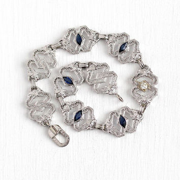 Art Deco Bracelet - Vintage 10k White Gold Old Mine Cut Diamond & Simulated Sapphire Filigree Panel - Antique 1920s Blue Stone Fine Jewelry