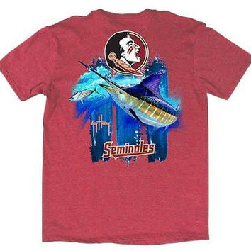NCAA Florida State Mens Guy Harvey T-Shirt Heather Red