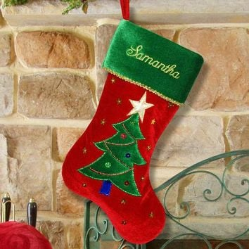 Christmas Tree Velvet Stocking