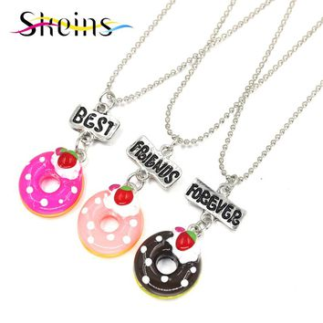 Skeins BFF Jewelry 3pcs Set Best Friends Charm Pendants Necklace Japanese Cartoon Love Sisters Series Doughnu Kids Necklace Set