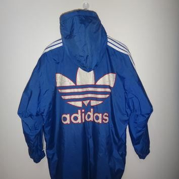 ADIDAS Jacket Windbreaker Snow beach Ski Jacket Long Coat Winter Button Down Jacket Bl