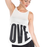 Love You Side Split Muscle Tank - Black & White from Glam at Lucky 21