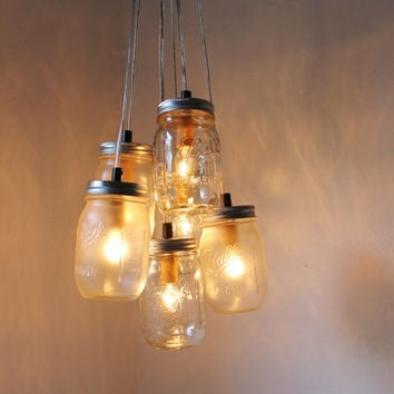 Misty Morning - Mason Jar Chandelier