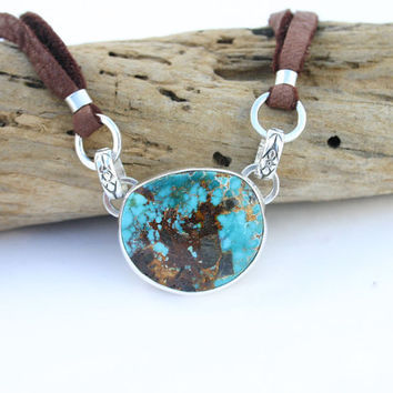 Turquoise necklace. Turquoise pendant necklace. American, southwestern Candeleria turquoise. Leather necklace with turquoise Handmade unique