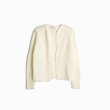 Vintage Ivory Boucle Cardigan / Cream Boucle Cardigan Sweater - women's small