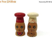 Large Wooden Salt and Pepper Shakers, Mid-century Salty and Peppy Hand-Painted Kitschy Japan