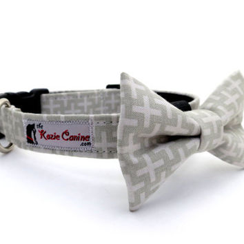 Grey Dog Collar Light & Dark Grey Gray Crosses by theKozieCanine