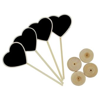 10pieces Heart Shape Wooden Chalkboard Blackboard Table Number Place Holder Wedding Birthday Party