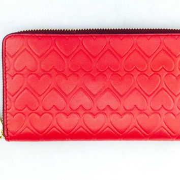 Tory Burch Red Leather And Hearts Continental Wallet