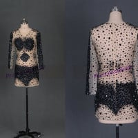 Short sexy prom dresses with rhinestones,2014 beaded gowns for holiday party,cheap women dress in handmade hot.