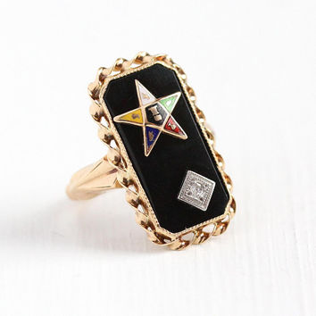Vintage OES Ring - 10k Rosy Yellow Gold Order of the Eastern Star Black Onyx Diamond Statement - Size 3 1/2 Enamel Rectangular Fine Jewelry