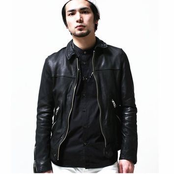 2017 plus size s-3XL genuine leather jackets and coats men unique male short scimitar sleeves natural sheepskin leather jacket