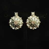 Vintage Pennino Earrings, Intense Rhinestone Earrings, Button Earrings, Clip On Earrings, Silver Tone (E-ER-130)