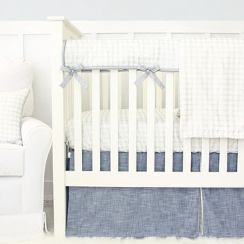 Stuart's Denim & Silver Check Crib Bedding | Blue, Silver, Check Baby Bedding