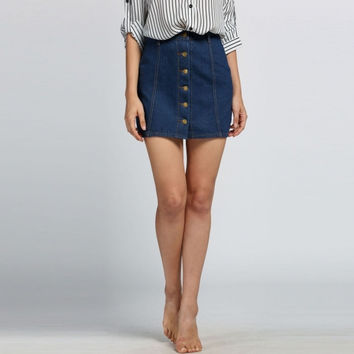 Fashion Women High Waisted Button-Down Denim A-Line Mini Skirt